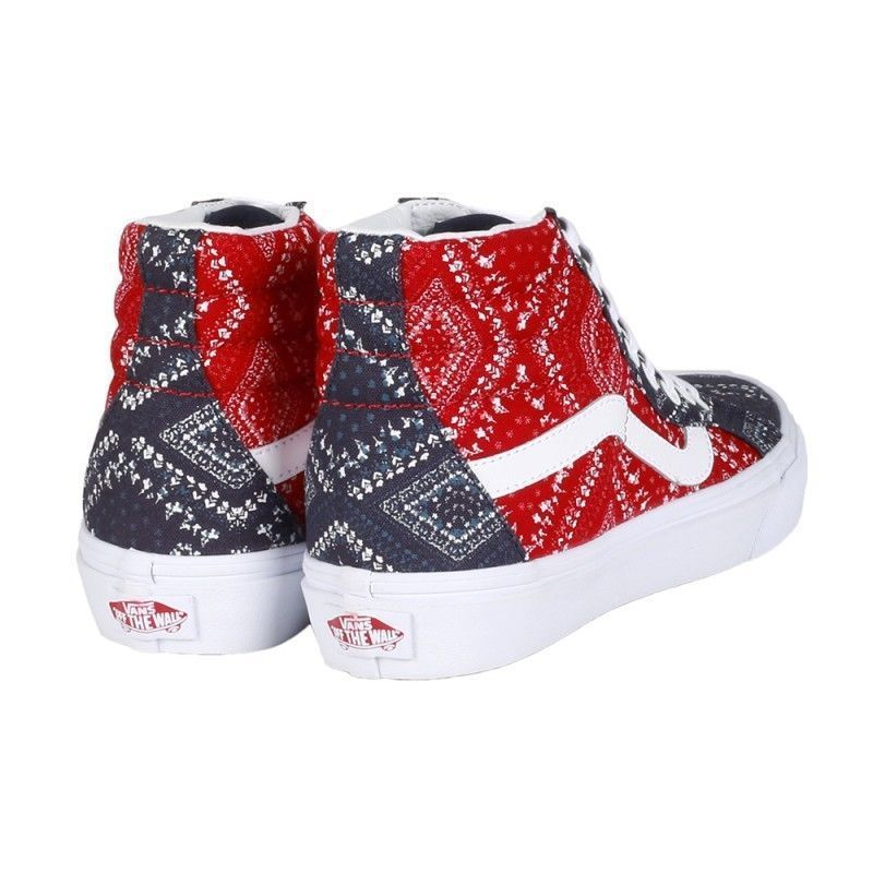 Vans SK8 Hi Reissue Ditsy Bandana Chili Pepper Skate Shoes Womens Size 9.5