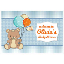 Teddy Bear with Balloons Baby Shower Banner Dessert Cake Table Personalized P... - $42.08