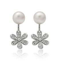 925 Sterling Silver Swing Flower Pearl Earrings - $24.99