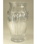 Crystal Vase Tall Thick Very Heavy Ribbed Desig... - $15.00