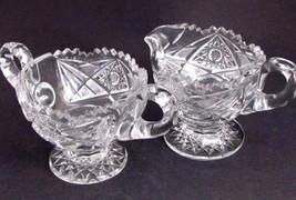 American Brilliant Period Cut Glass Pedestal sugar & creamer   Antique ABP - $92.22
