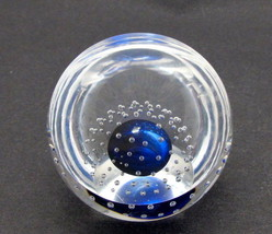 Blue Glass  hand made paperweight air bubbles half dome - $27.11