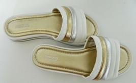 Michael Kors Sandals Slides Comfort Foam HL161 Size 6.5 M White Silver and Gold - $24.63