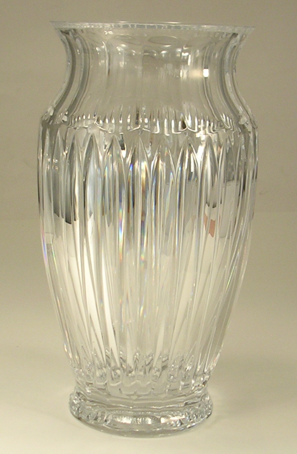 Crystal Vase Tall Thick Very Heavy Ribbed Design Unsigned