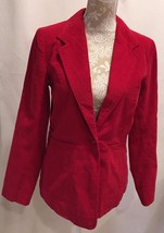 DENIM & CO WOMEN RED CORDUROY LONG SLEEVE JACKET COAT SIZE XS X-SMALL - $28.79