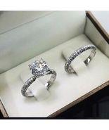 2Ct D/VVS1 Round-Cut Diamond Pave Bridal Set Engagement Ring 14k White G... - $98.00