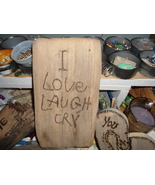 Old rustic reclaimed wood sign Love Laugh Cry - $19.95