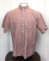 Tommy Hilfiger Red And White Mens Size L Large Plaid Button Down Shirt - $15.52