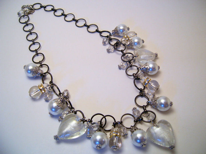 Necklace Sea Shell Pearl Clear Glass Beads Gold