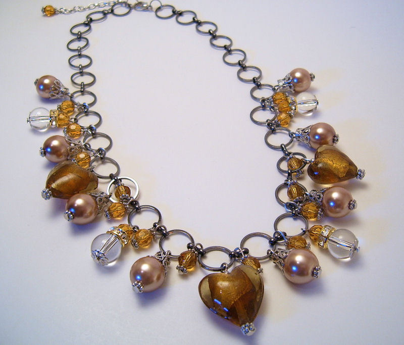 Necklace gold sea shell pearls clear glass beads azure
