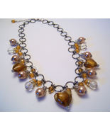 Necklace Sea Shell Pearl Clear Glass Beads Gold  - $12.99