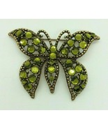 Vintage Weiss Green Crystal Gold Tone Butterfly Broach Pin - $34.64