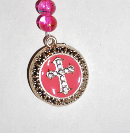 Gold Bookmark,  Pink Cross Charm, Cross Focal, Pink and Gold Bookmark Charm