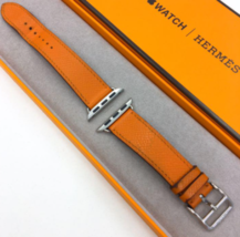 Apple Watch Hermes Vaux Epson Simple Tour Leather Strap Orange Used - $354.41