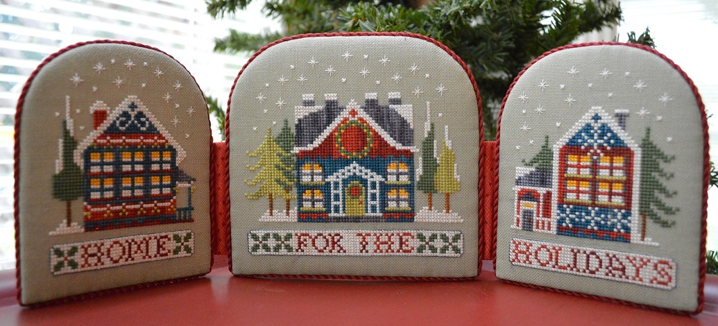 Wreath House & Home for the Holidays Neighborhood cross stitch Hands On Design - $7.65