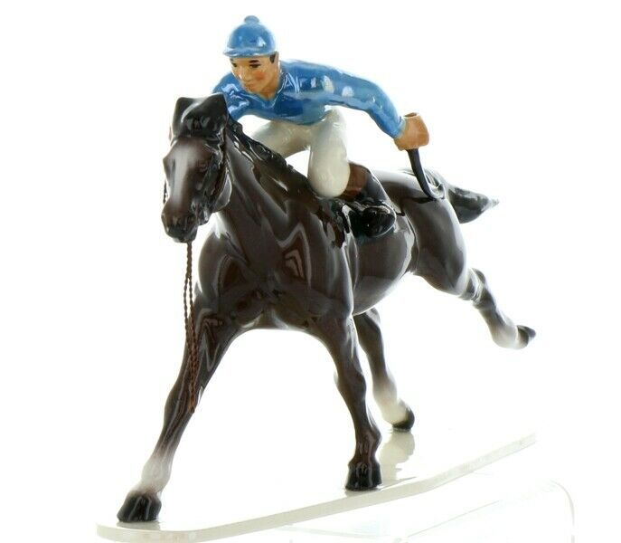 Hagen Renaker Specialty Horse with Jockey Racing Ceramic Figurine