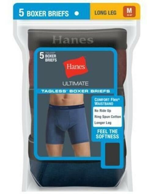 889ca6e64009 5-Pack Hanes Men's TAGLESS Ultimate Long Leg Dyed Boxer Briefs - Assorted -  S-XL - $30.39