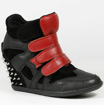 Black Red Faux Leather Spike High Top Fashion Sneakers Ankle Boot Wild Diva - $14.99