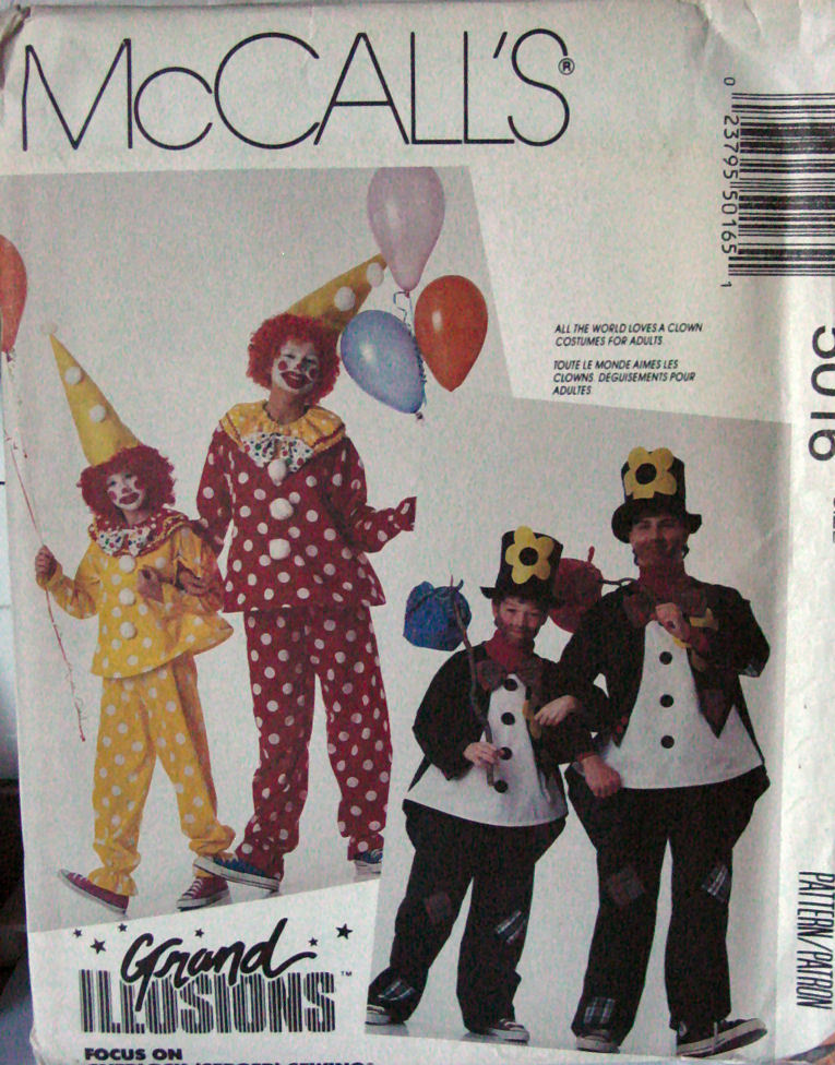 "Primary image for Pattern 5016 Clown Costumes Adult sz Small 32.5""- 34"" chest"