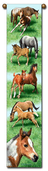 "40"" Spring Frolic HORSE Colt Foal Western Bell Pull Tapestry"