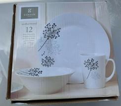 Gibson Netherwood 12 Piece Round Glaze Dinnerware Plates, Bowls, and Mugs, White - $24.74