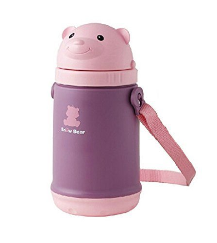 Cute Bear Infant Sippy Cups Baby Sippy Cup Portable Children Drinking Cup Pink