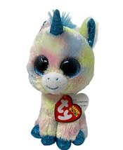 "TY Beanie Babies Boos Plush 6"" BLITZ Unicorn Pastel Stuffed Animal Glitter Eyes - $9.49"