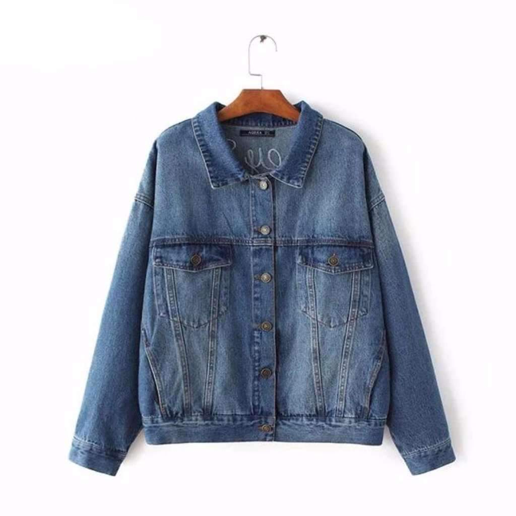Oversized Embroidery Denim Jackets For Women