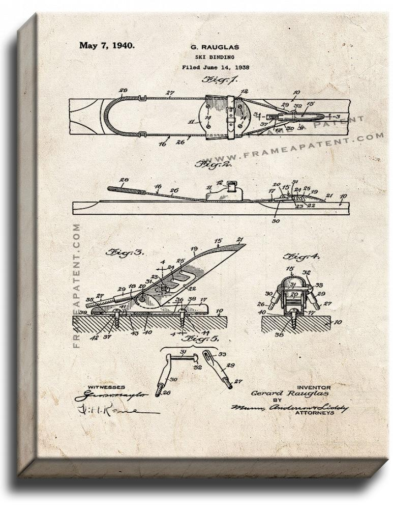 Primary image for Ski Binding Patent Print Old Look on Canvas