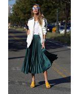 New dark green metallic pleated women skirt midi length metalic spring s... - $44.00