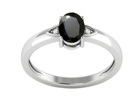 1.20 Ctw Black Spinel Solitaire With Accents Women Ring 925 Sterling Silver - $13.74