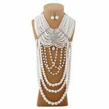 Multilayered Creamy Pearl Rhinestone Choker Tassel Silver Plated Necklace Set - $42.55