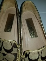 """Coach gold/khaki Signature Loafers Driving Slip On Shoes 6.5 B M """"Summer"""" - $34.99"""