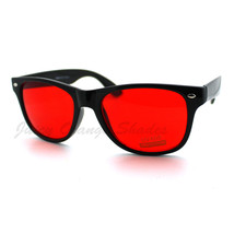 Classic Square Frame Horn Rim Sunglasses Red Yellow Lens - $8.95