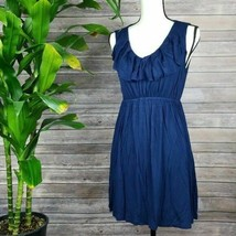 Forever 21 Ruffle V Neck Navy Blue Midi A-Line Sleeveless Dress Womans L... - $23.21