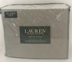 Ralph Lauren Dunham Sateen 100% Cotton 300TC 4pc Dove gray Sheet Set - Q... - $76.22