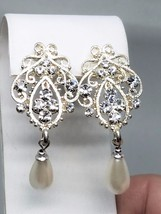 Beautiful and Fancy Silver tone Earrings with Rhinestones Wedding - $17.99