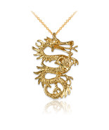 Yellow Gold Textured Dragon DC Charm Necklace - $79.99+