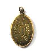 Vintage Gold Filled Oval Locket Pendant Fob 33mm x 21mm Floral Stripes - $19.79