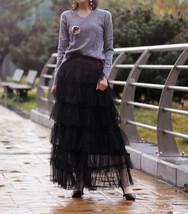 Women Black Tiered Tulle Skirt Full Long Black Tulle Layered Skirt Plus Size image 1