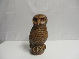 Vintage Brown Ceramic Owl Glass eyes on perch Japan Large 13'' - $59.39