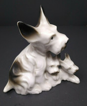 Scottish Terrier Mom and Pups Ceramic Figurine Made In Japan  - $14.01