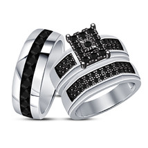 Bride And Groom Rings , Thanksgiving Festival Offer 925 Silver Trio Ring Set - $154.99