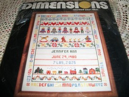 Baby Birth Record Counted Cross Stitch Kit - $20.00