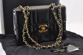 CHANEL Enamel Matelasse 30 Shoulder Bag Double Chain Black CC Auth sa1327 - $1,980.00