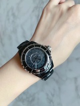 100% AUTH CHANEL J12 Intense Black H3828 Quartz Ladies Watch NEW image 7
