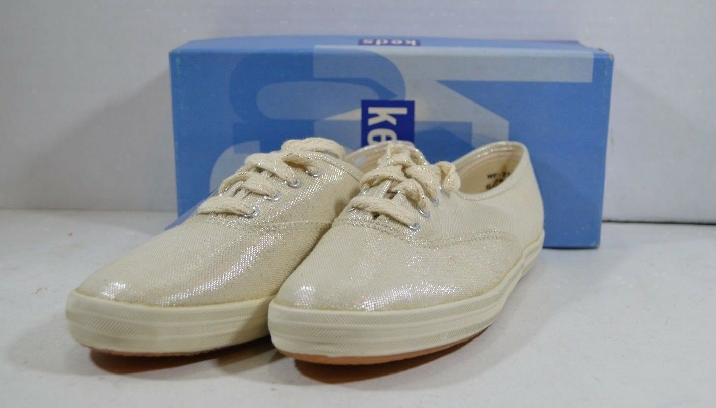 Vintage 90s New Keds Womens 6 Champion Metallic Silver Lace Up Walking Shoes