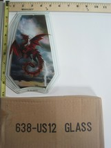 FREE US SHIP OK Touch Lamp Replacement Glass Panel Red Dragon Flying 638... - $9.75