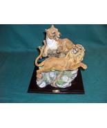 Vntg De Capoli Art Sculpture African Lions Wildlife Figurine By Karen Le... - $64.35