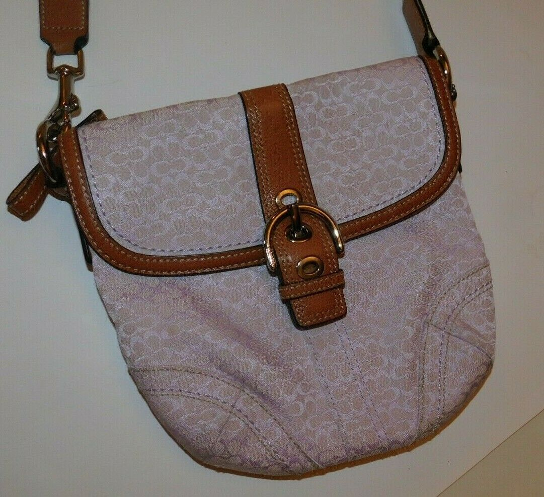 6dcad98eacd9 Coach Purple Signature Tan Leather Cross and 50 similar items